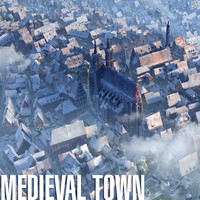 City 3D Model Medieval Town Winter