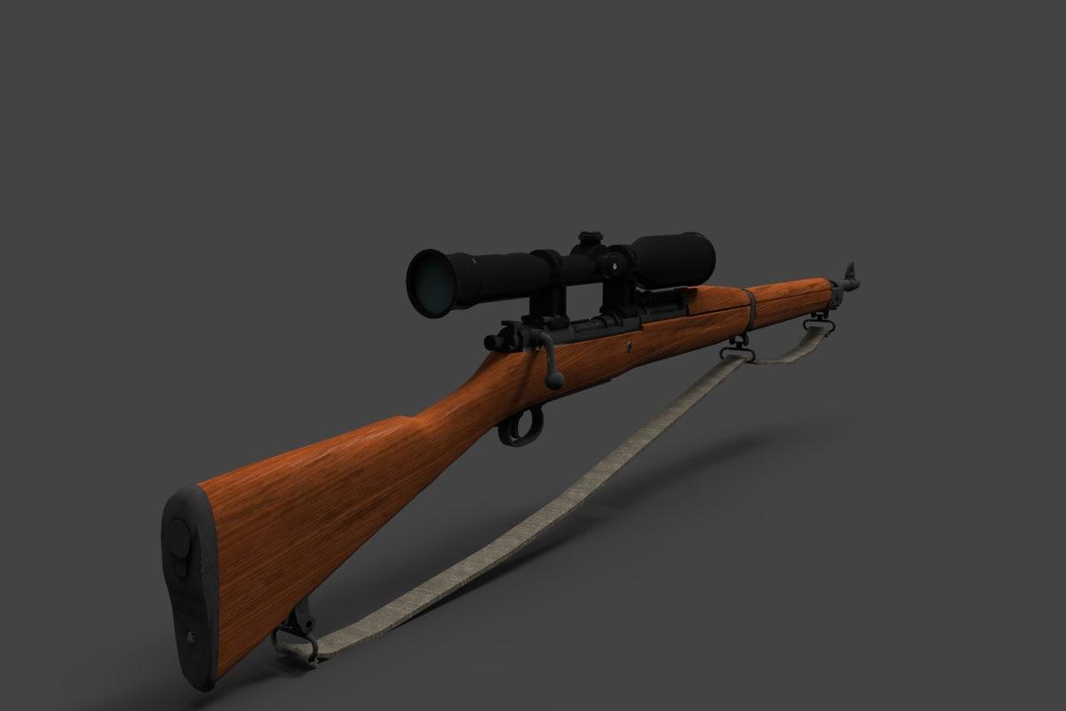 3d model springfield 1903 rifle gun