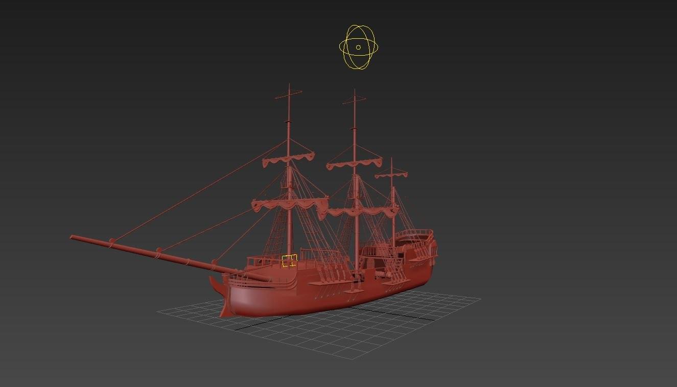 old ship 1700s 3d model
