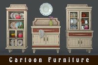 3d model cartoon cabinets