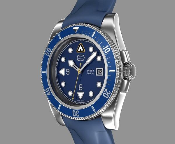 diver wrist watch design 3d max