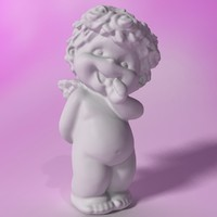 3d stylized little angel statuette model