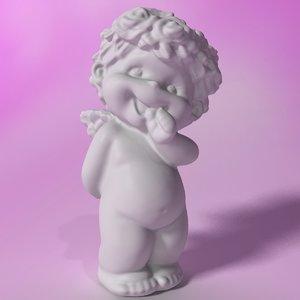 3d stylized little angel statuette model