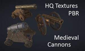 3d model realistic medieval cannons pbr