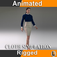 3d casual woman character