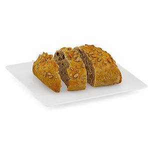 3d sliced dark bun white