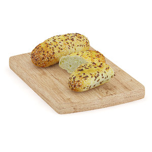 buns sesame seeds wooden board max