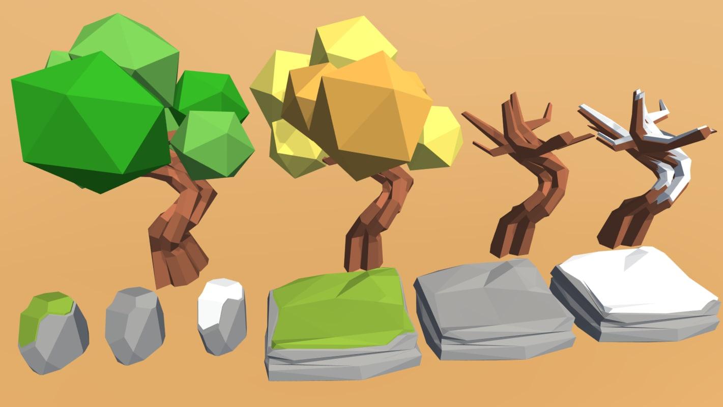 art nature pack trees 3d model