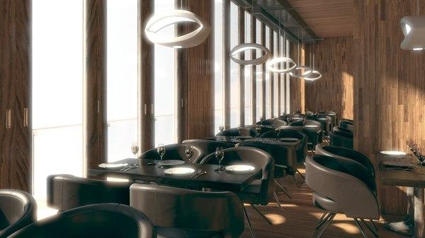 interior restaurant 3d obj