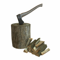 3d axe logs wood model