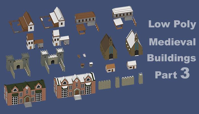 art medieval buildings parts 3d blend