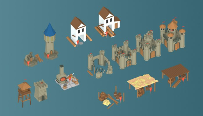 3d art medieval buildings parts