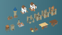3d art medieval buildings parts