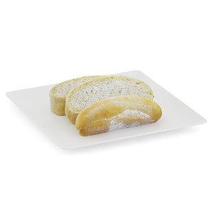 sliced white bread plate 3d model