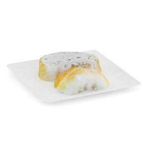 sliced white bread plate obj