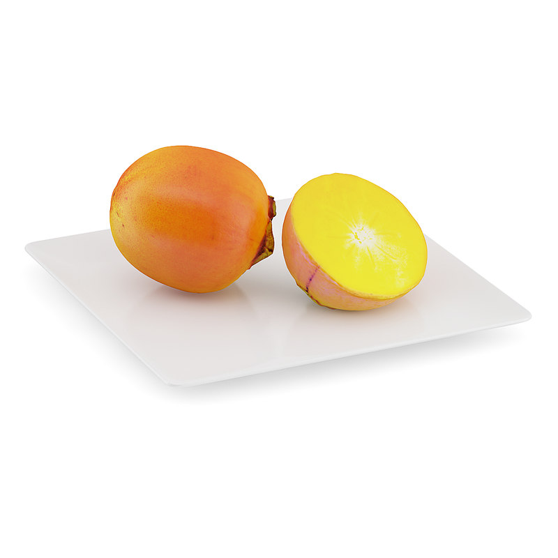 persimmon fruits white plate 3d model