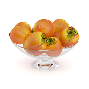 persimmon fruits glass bowl 3d max