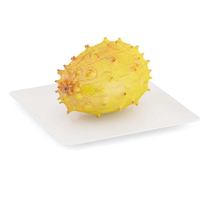 horned melon white plate 3d max