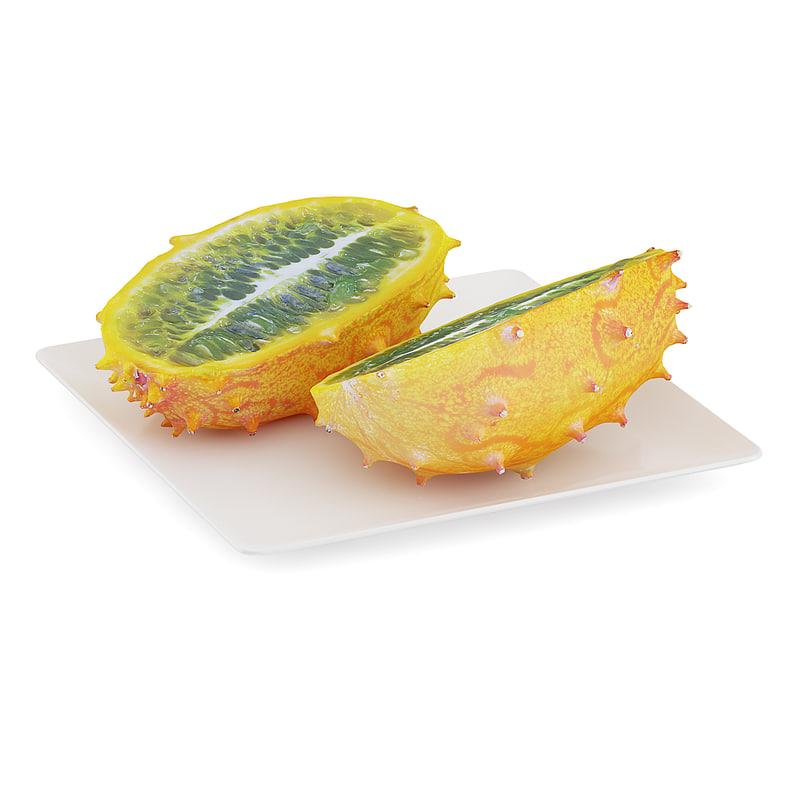 sliced horned melon white 3d model