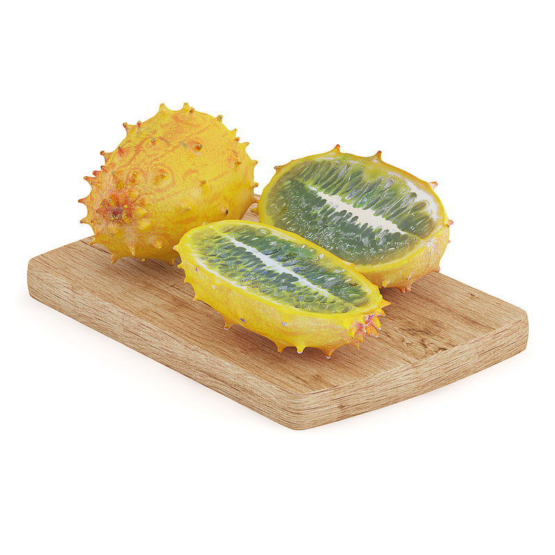 3d sliced horned melon wooden board model