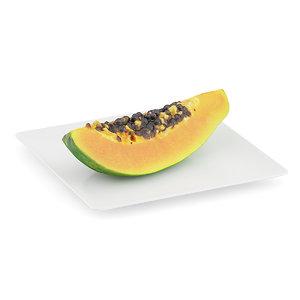 3d papaya slice white plate