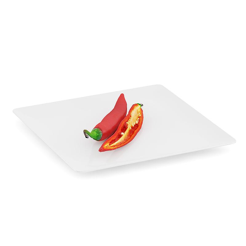 chilli pepper white plate 3d max
