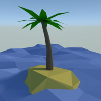 Low poly palm tree on lonely island