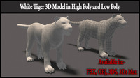 White Tiger High Poly and Low Poly