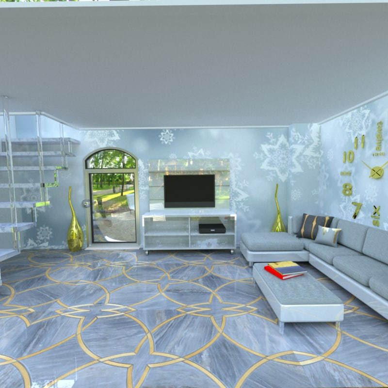 3d model gold gray interior
