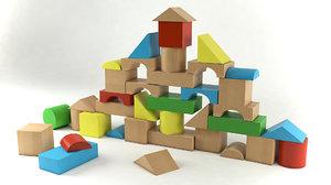 3d model of building blocks
