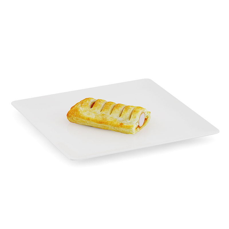 slice sausage roll white 3d model
