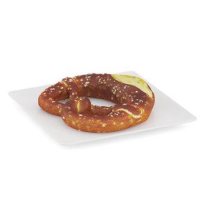 pretzel white plate 3d c4d