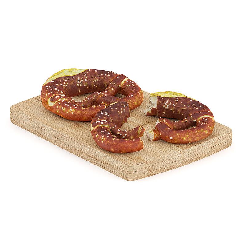 3d model pretzels wooden board