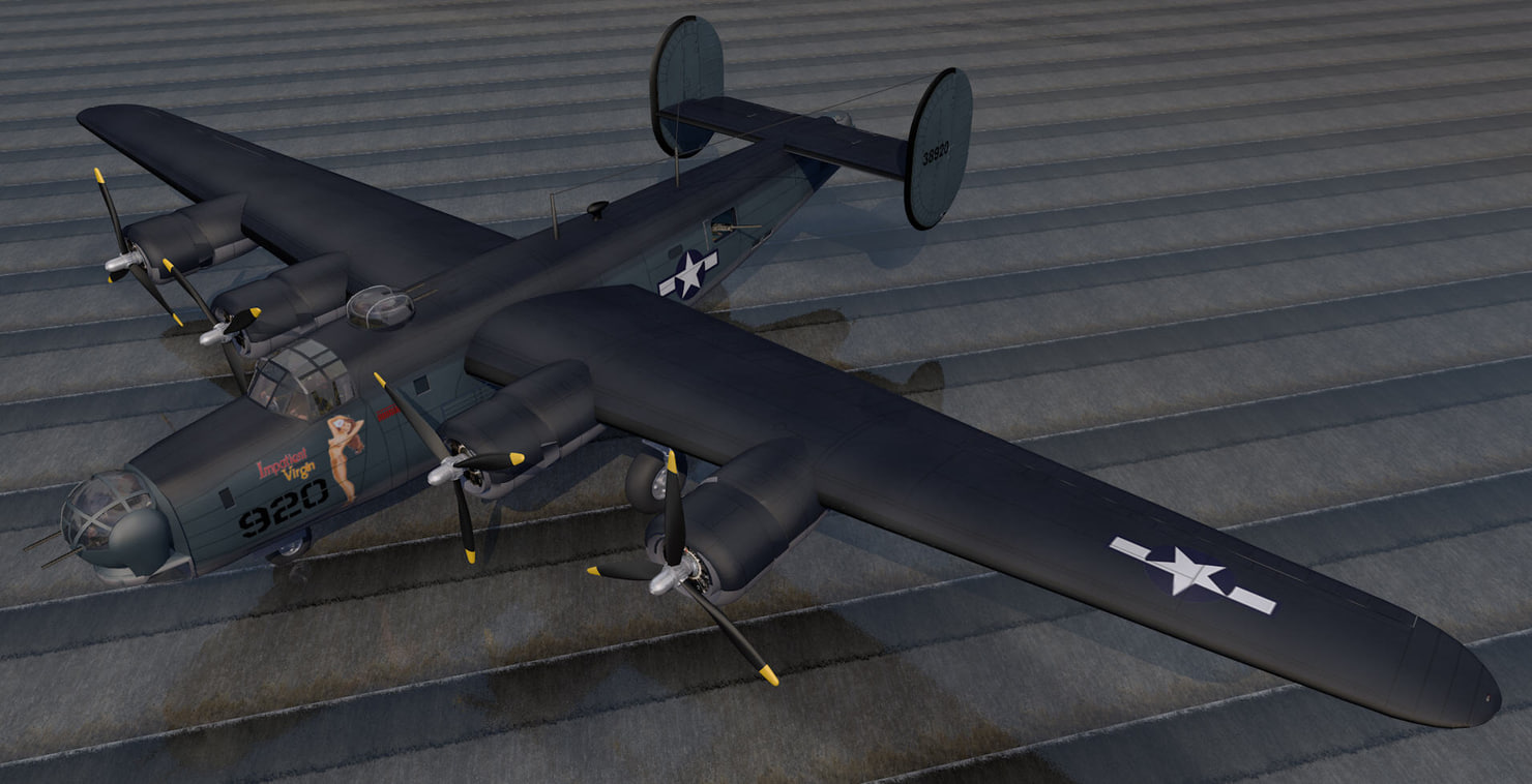 3d model of plane consolidated pb4y-1 liberator