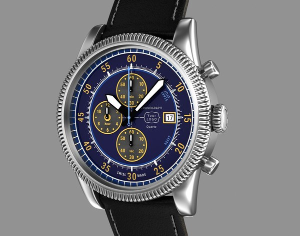 3d chronograph wrist watch design model