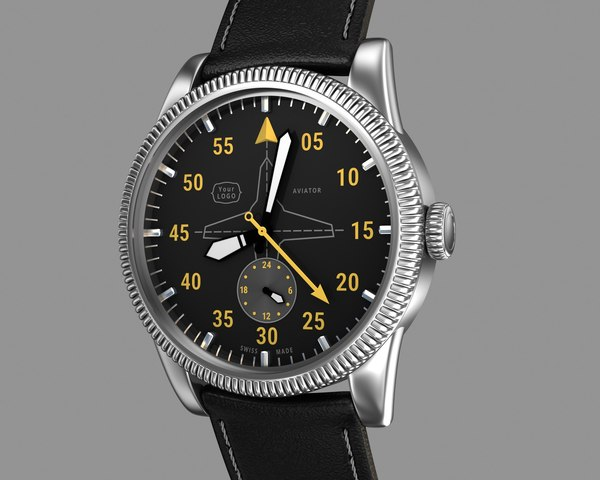 aviator wrist watch design 3d model