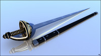 sword rapier cartoon 3d obj