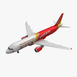 3d airbus a320 vietjet air model