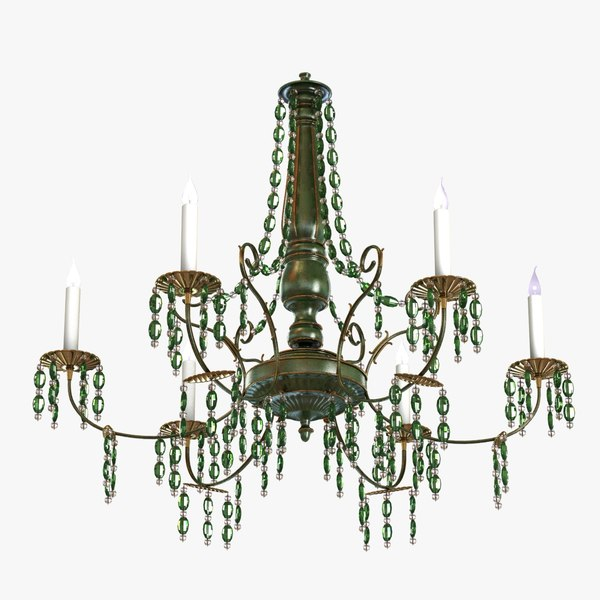 chandelier large green crystal 3d 3ds