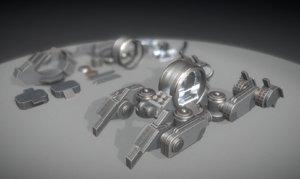 3d futuristic terrain walker basic model