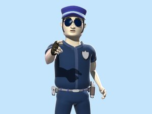 cartoon policeman animation fbx