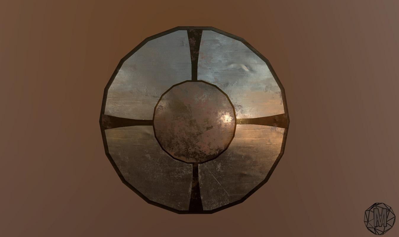 viking shield 3d obj