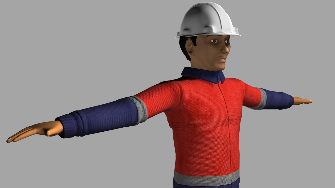 worker character animation 3d model