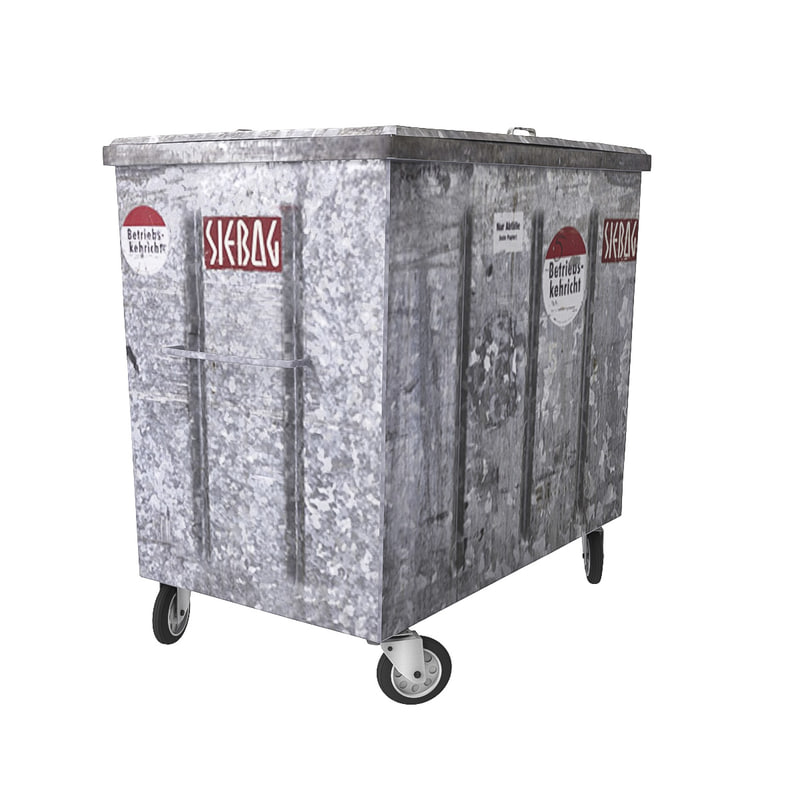 3d model of metal garbage container