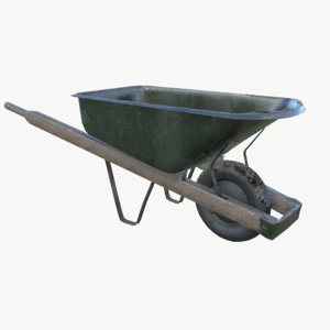 3d model pbr wheelbarrow