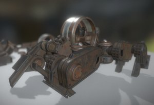 futuristic terrain walker rusty 3ds