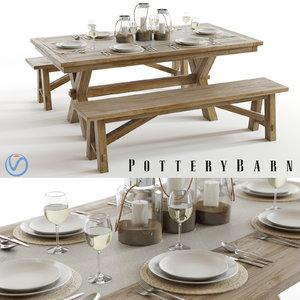 3d model set pottery barn toscana