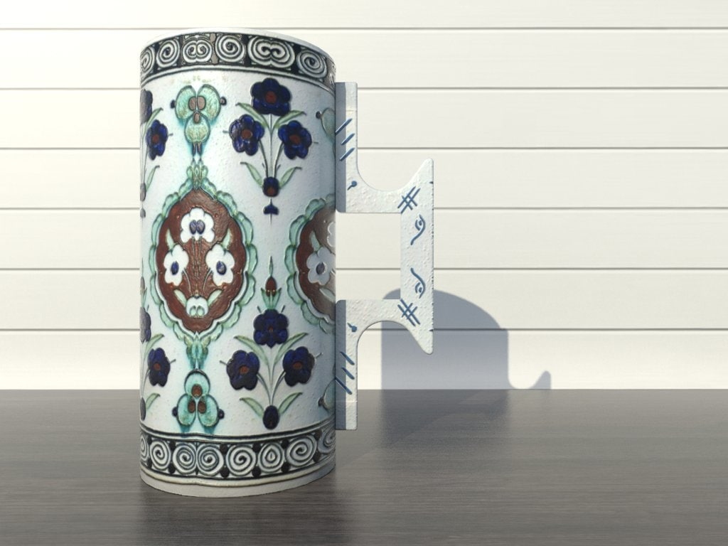3d model of tankard iznik ceramics