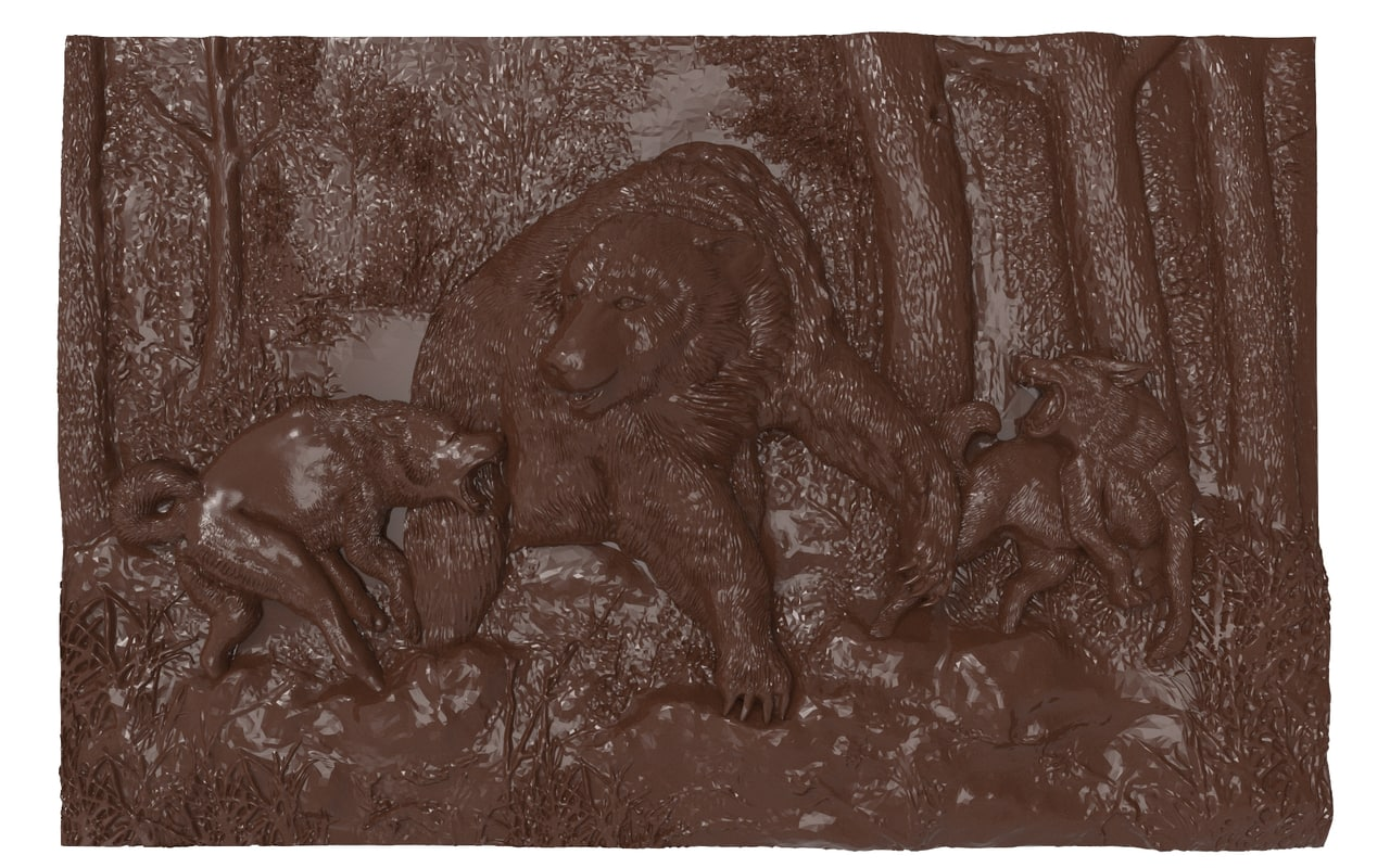 3d model bas relief bear hunt