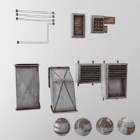electrical stuff wall 3d model